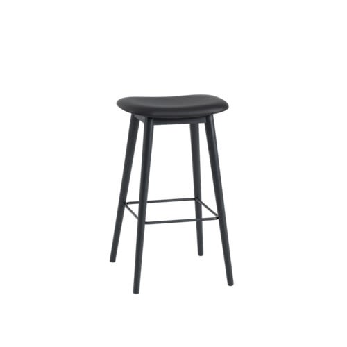 Fiber Bar Stool Wood Base Upholstered by Muuto