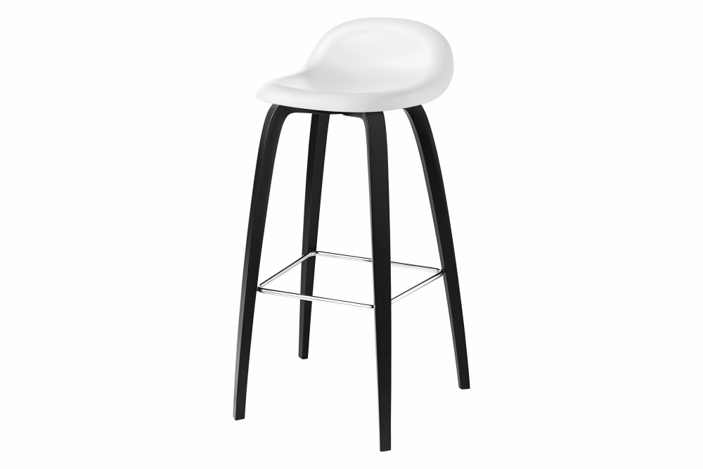 Gubi 3D Wood Base Bar Stool - Unupholstered by Gubi