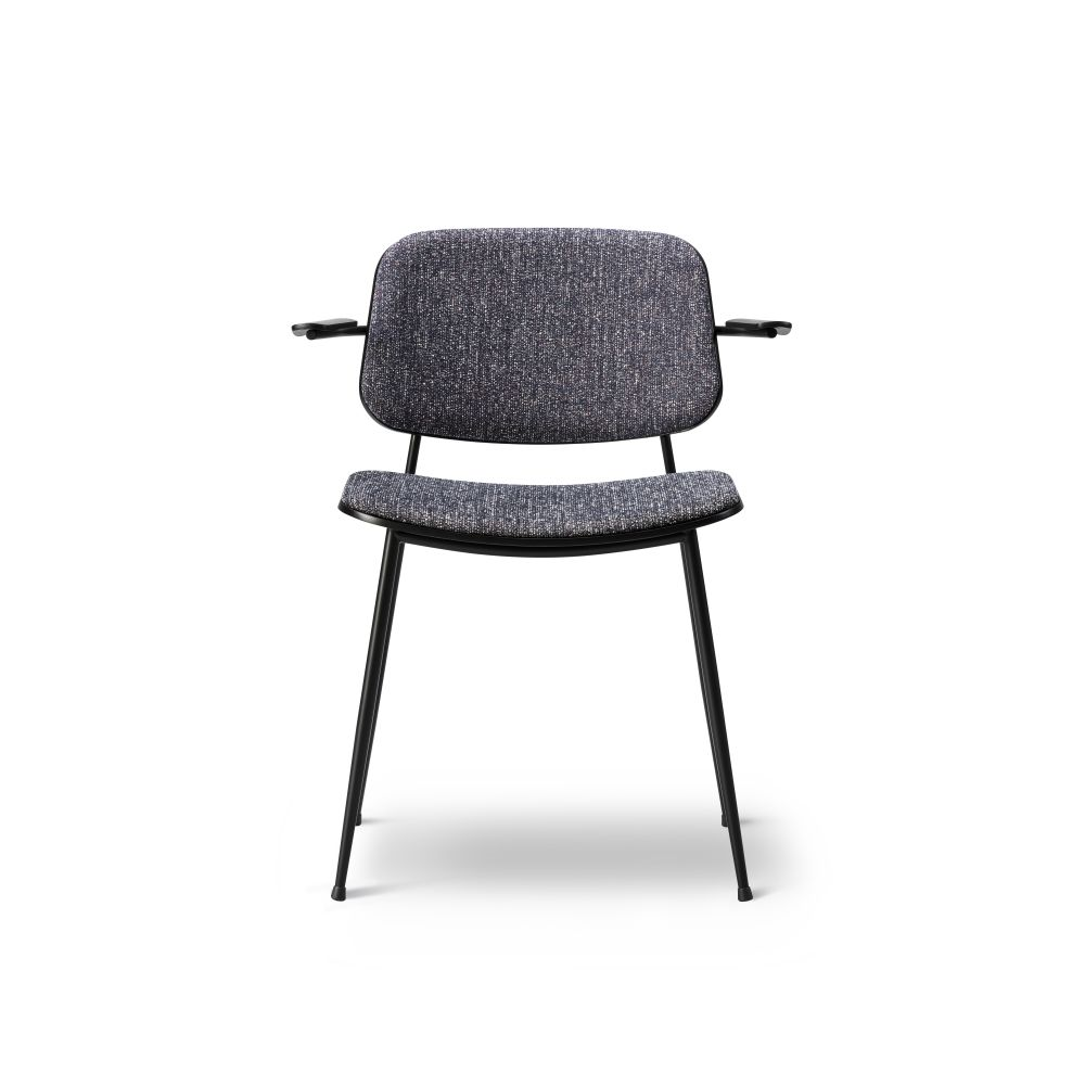 Soborg arm chair, steel, back and seat upholstered by Fredericia