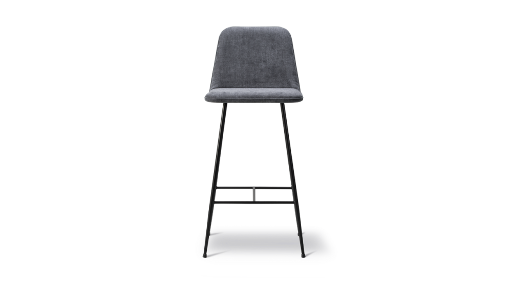 Spine Metal Base Barstool - fully upholstered by Fredericia