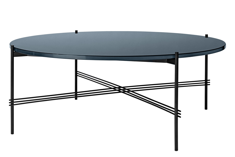 TS Round Coffee Table with Glass Top - Black Frame by Gubi