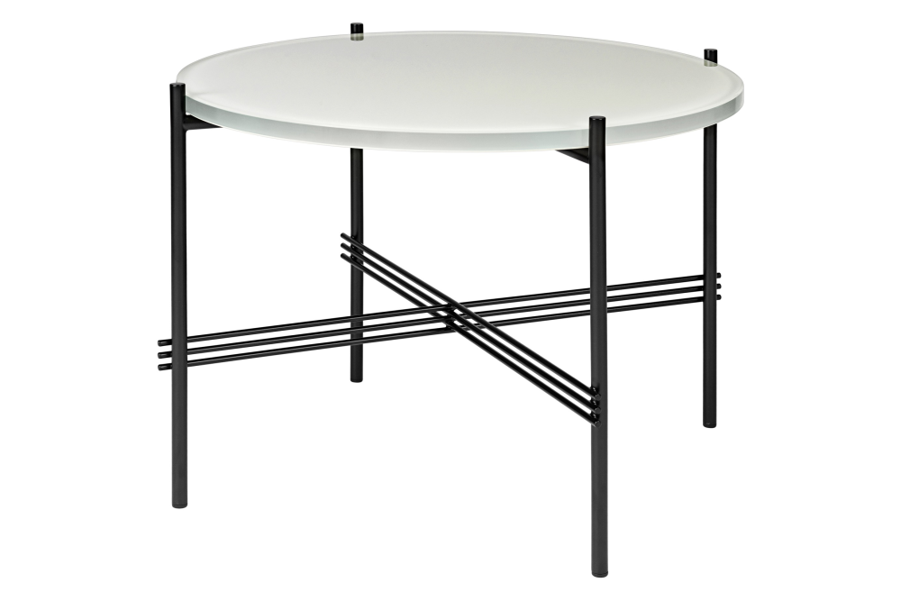TS Round Coffee Table with Glass Top - Black Frame by Gubi Clippings