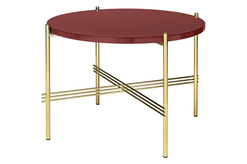 TS Round Coffee Table with Glass Top - Brass Frame by Gubi