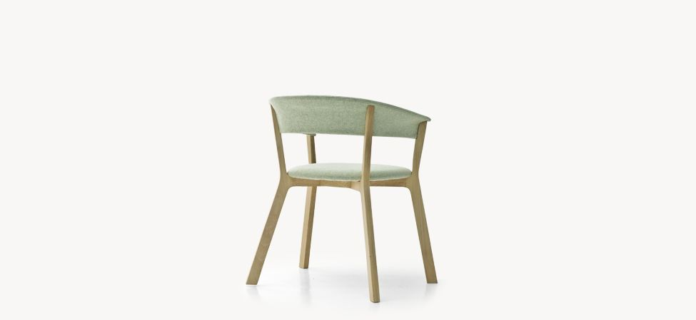 Wood Bikini Dining Chair with Upholstered Seat by Moroso