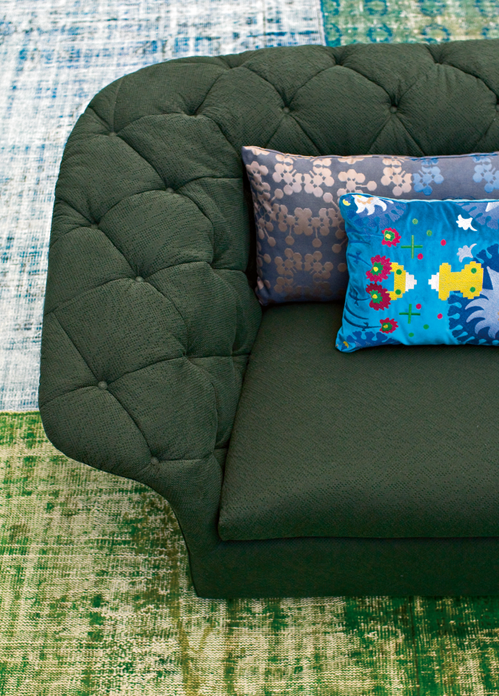 Bohemian 3 seater sofa without back cushions by moroso for Without back sofa
