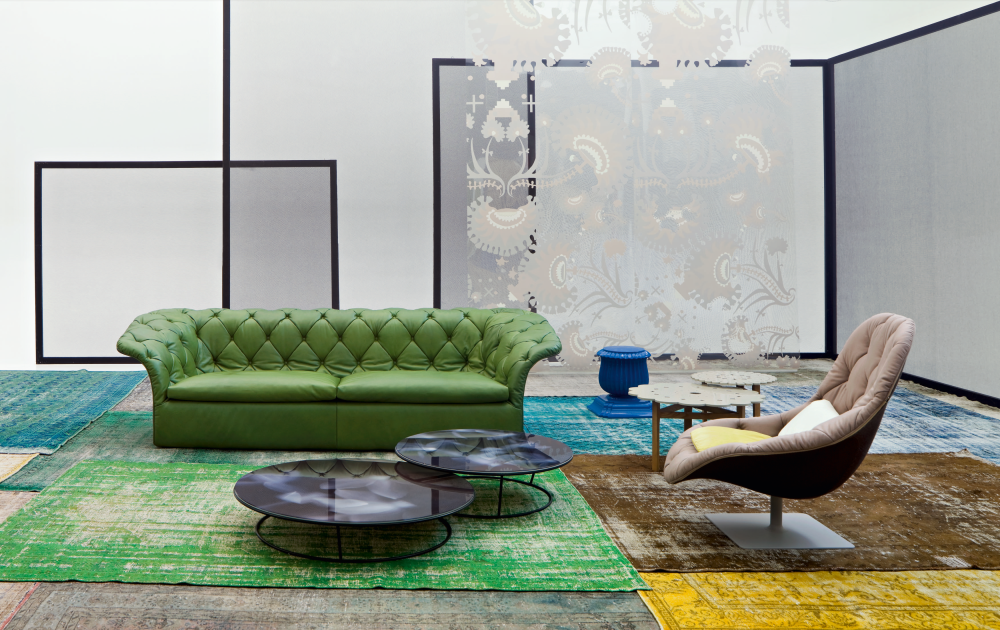 Bohemian 3 seater sofa without back cushions by moroso for Settee without back