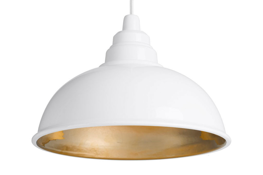 Botega Pendant Lamp White And Gold By Enrico Zanolla