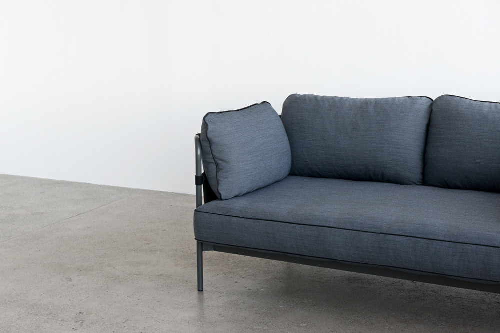 Can 2 Seater Sofa Canvas Grey Grey Blue by Hay