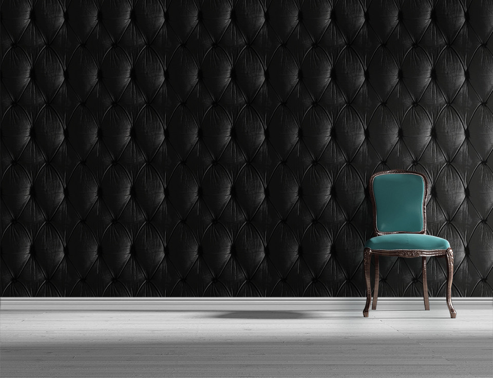 Black Chesterfield Button Back Wallpaper