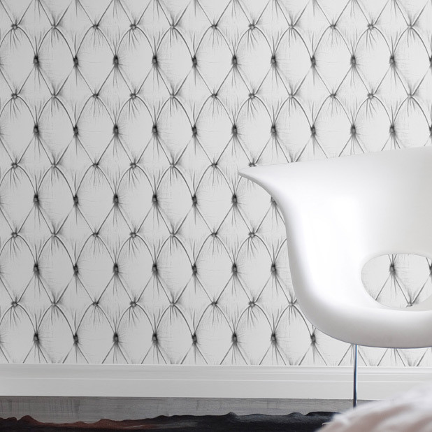 White Chesterfield Button Back Wallpaper