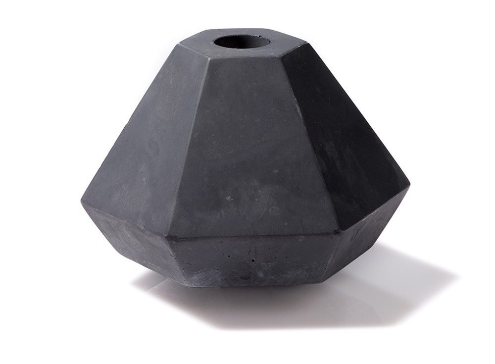 Geometric Concrete Candle Holder in Short Black by Korridor