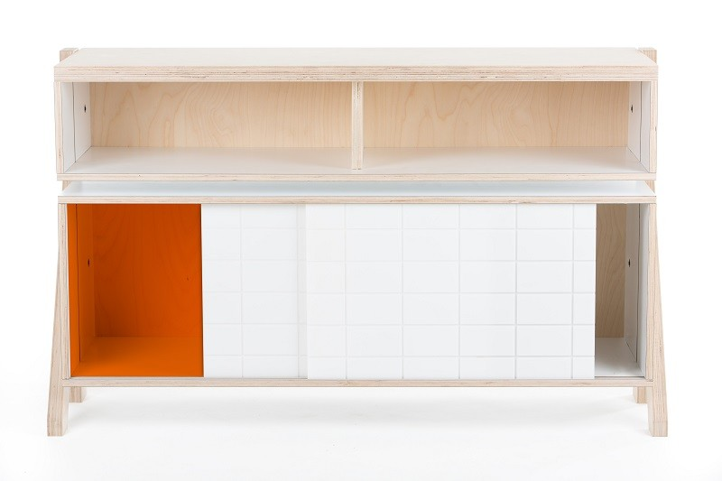 Frame Sideboard 02 Small - Orange Transparent Door
