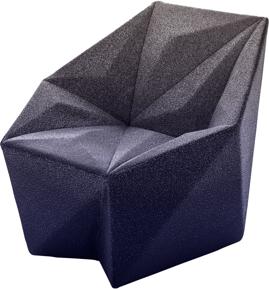 Gemma Armchair by Daniel Libeskind for Moroso, upholstered in Blur - purple and grey