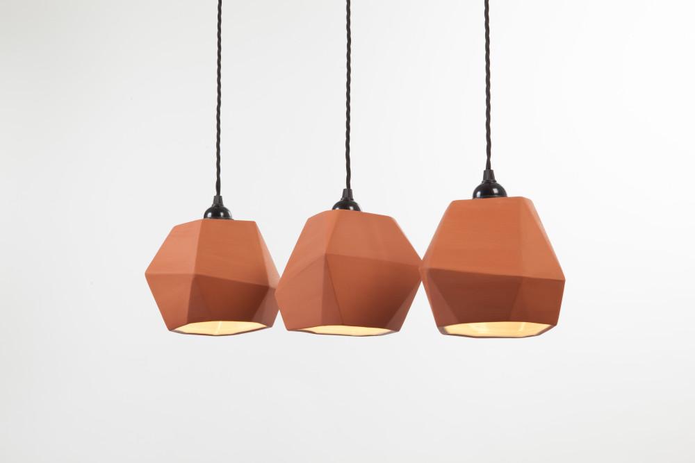 Geometric Terracotta Pendant Shade Set (inside glazed)