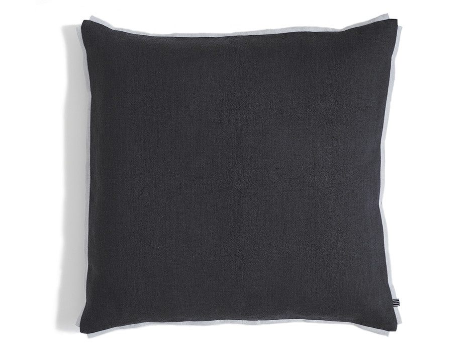 Charcoal grey linen cushion decorated with dove grey trim