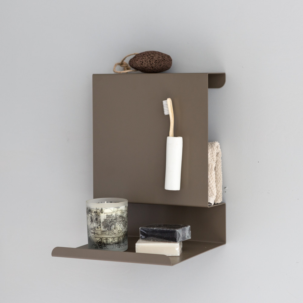Brown Ledge:able Shelf in the bathroom