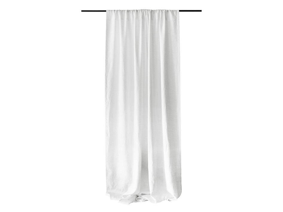white linen window curtain