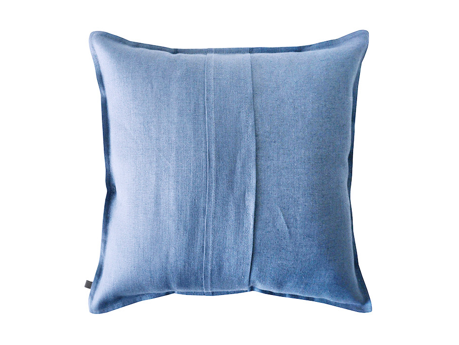 serenity blue linen cushion