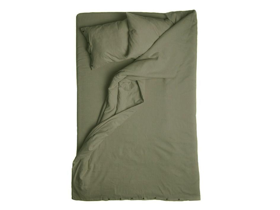 Moss green linen duvet cover