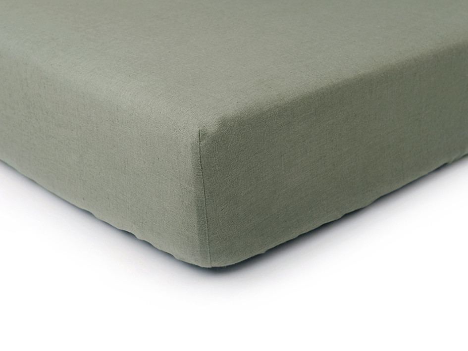 linen fitted sheet moss green