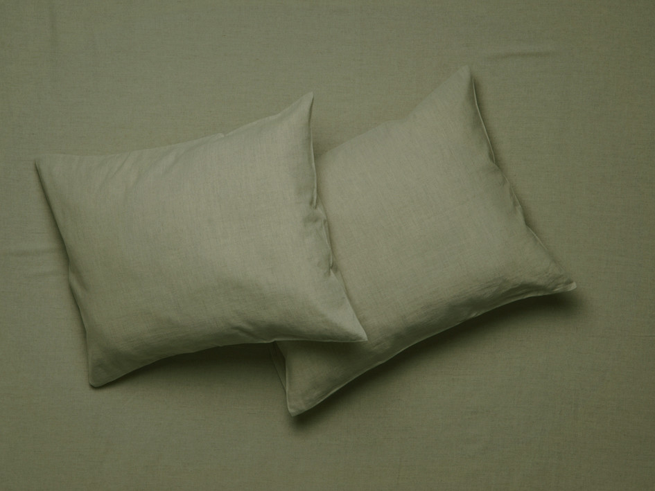 Linen pillowcases Moss green