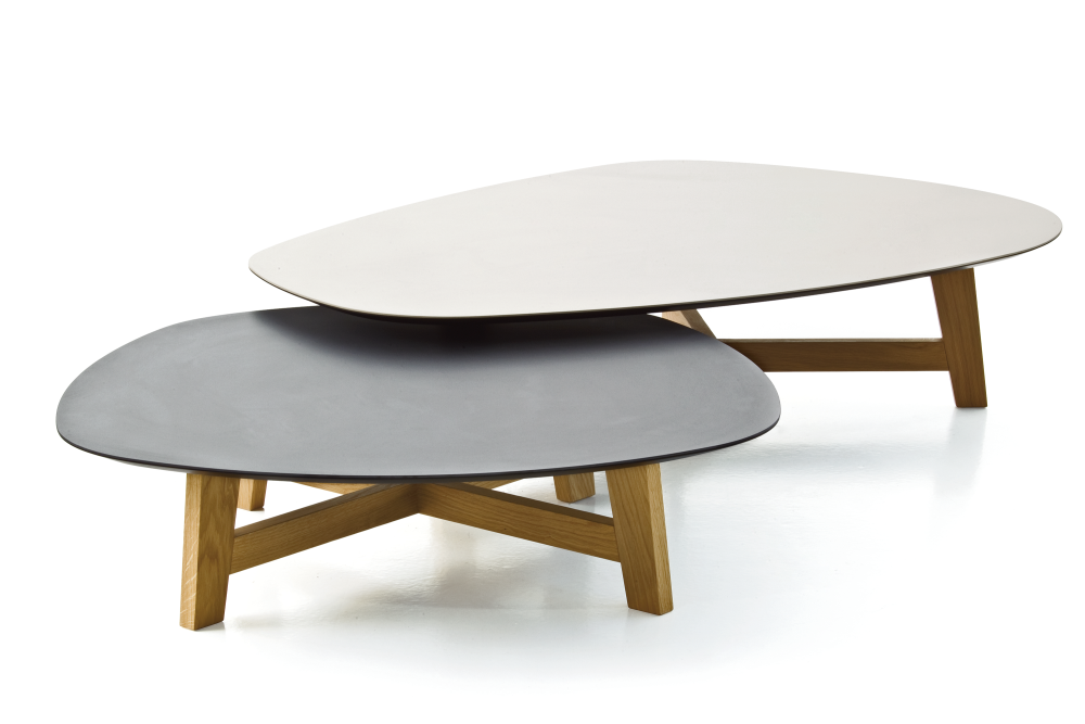 Phoenix Coffee Table with Wood Base by Moroso