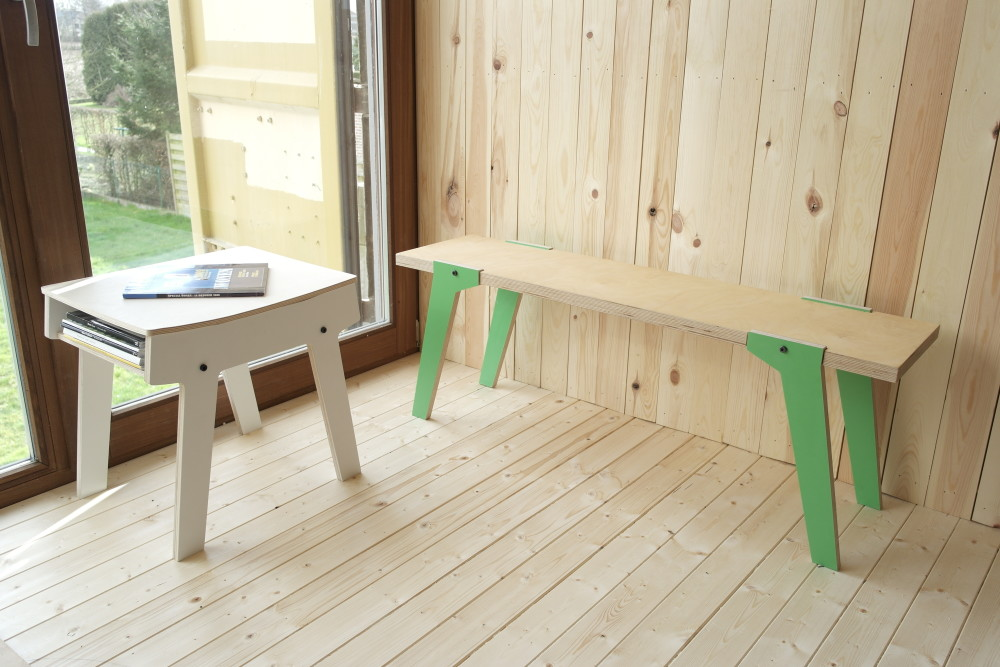rform Pi Stool - Snow White with Switch Bench 01 - Palm Leaf Green