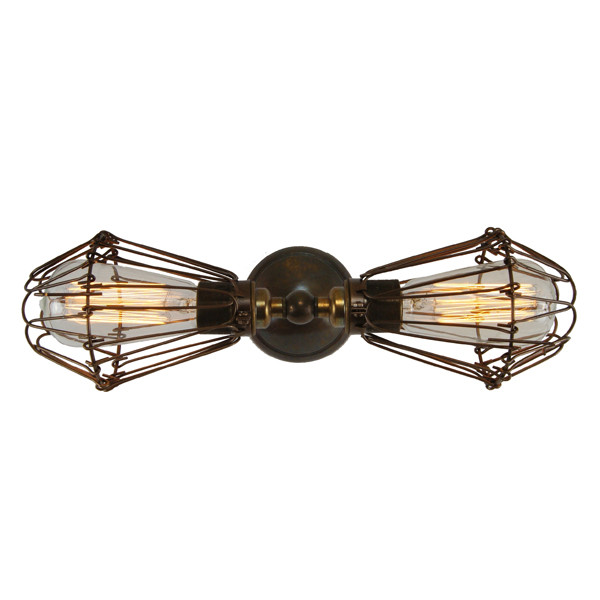 Vintage Wall Lights Double : Praia Vintage Double Cage Wall Light by Mullan Lighting Design