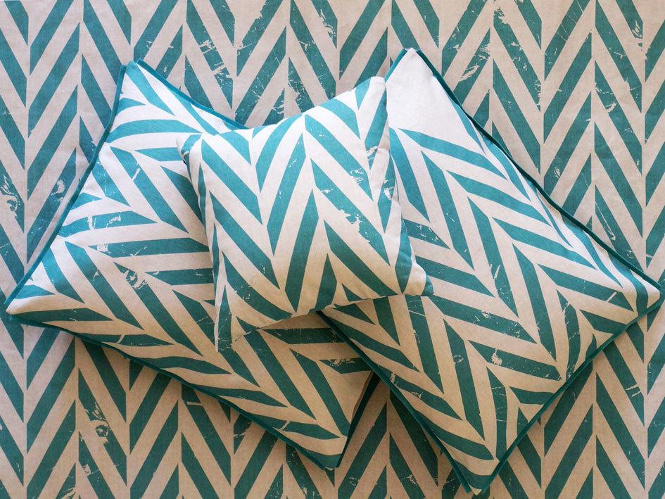 printed pillowcases - aqua