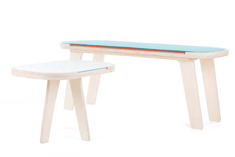 rfrom Slim Touch Side Table - Hard Top - Butterfly Blue - Snow White - with rfrom Slim Touch Bench