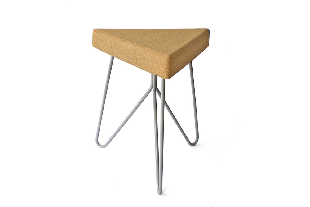 Três Stool.table - light cork, grey legs