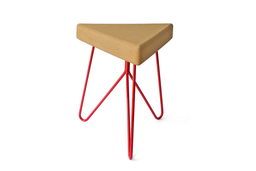 Três Stool.table - light cork, red legs