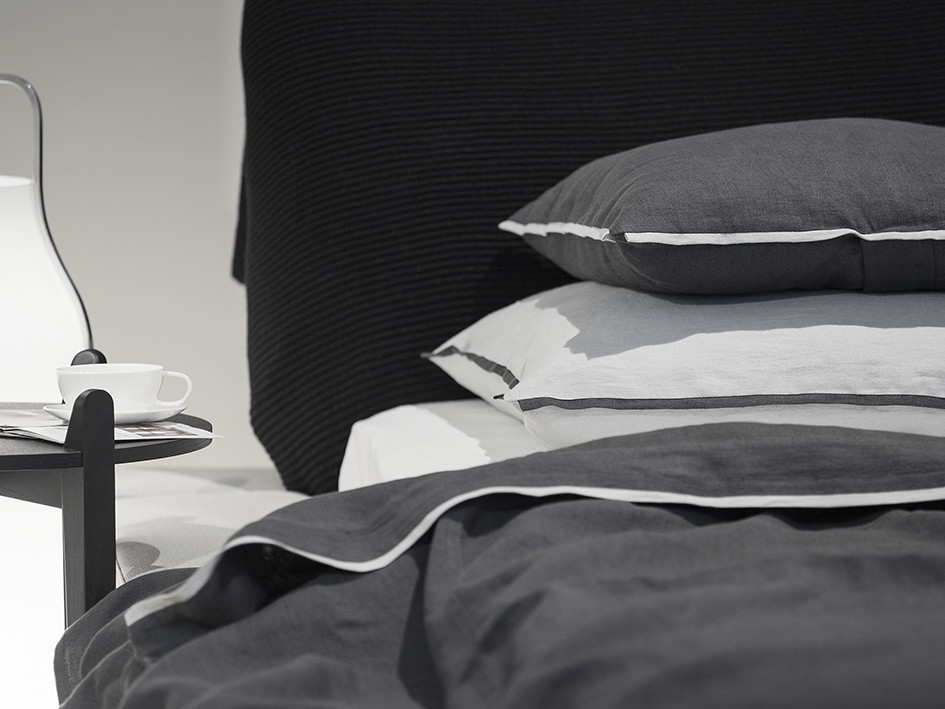 Soft linen pillowcases Trimmed Dove grey and charcoal