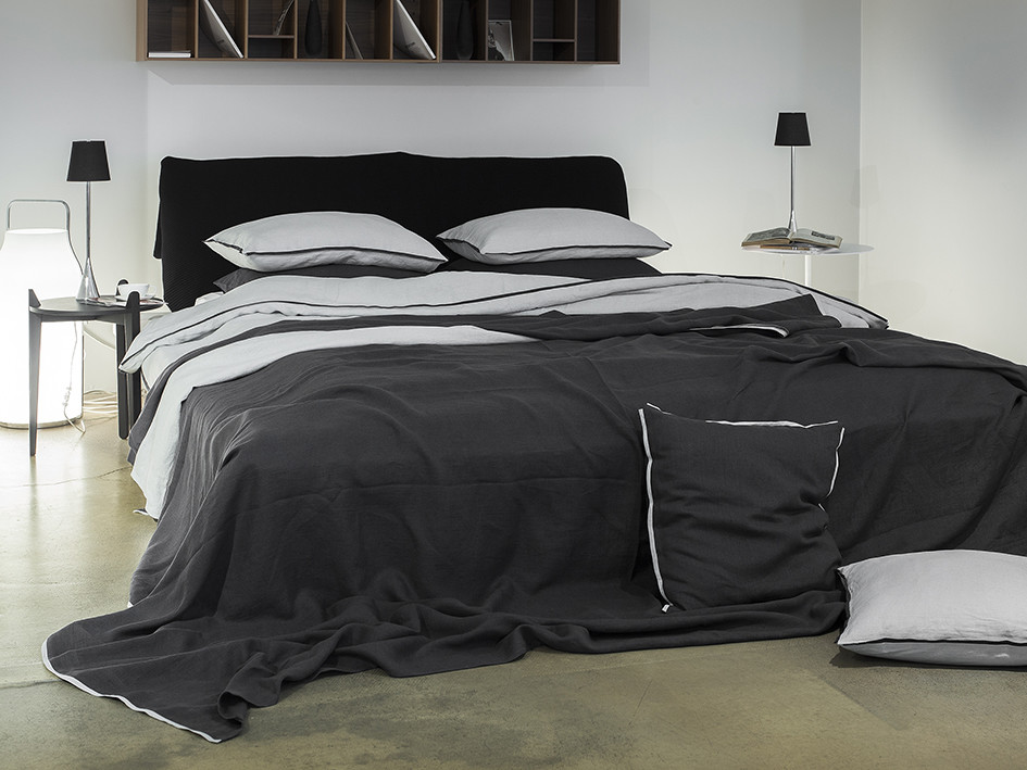 Soft linen bedding Trimmed Dove grey and charcoal