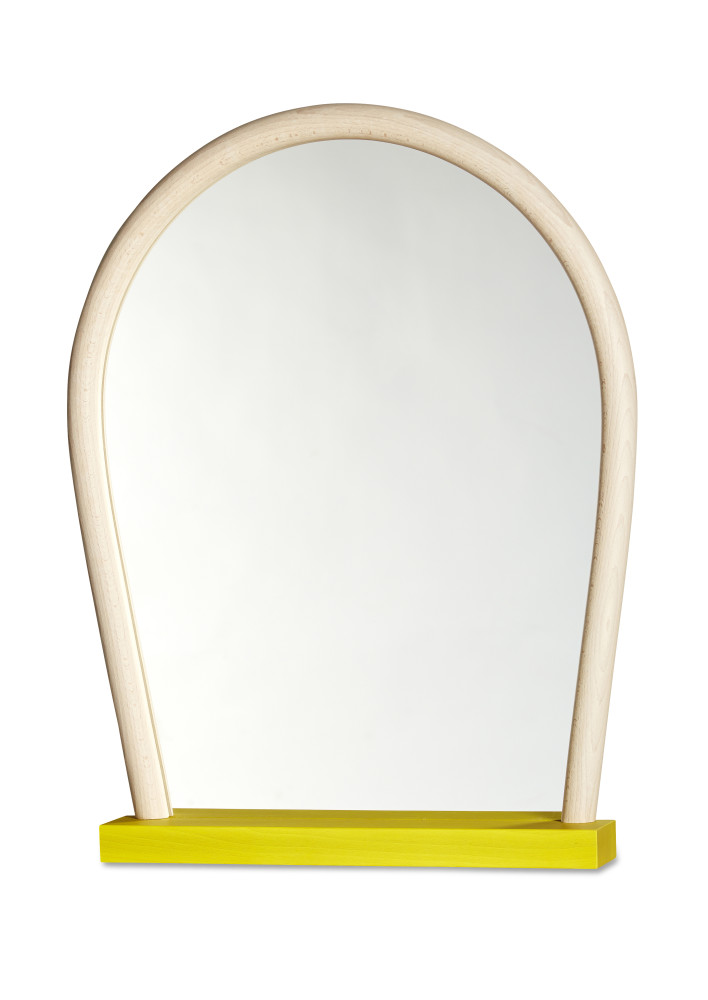 Bent Wood Mirror Yellow Base, Light Natural Frame by Hay