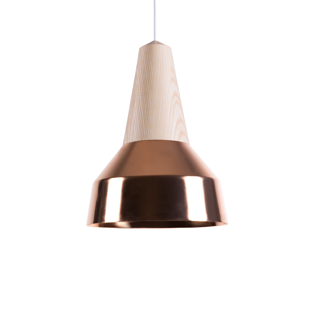 Eikon Ray Pendant Light in Ash and Copper with white cable
