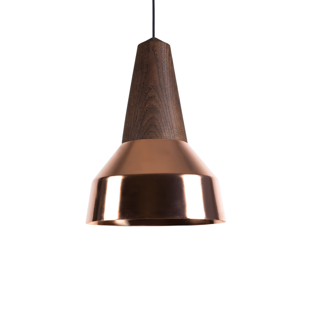 Eikon Ray Pendant Light in Black Oak and Copper with black cable