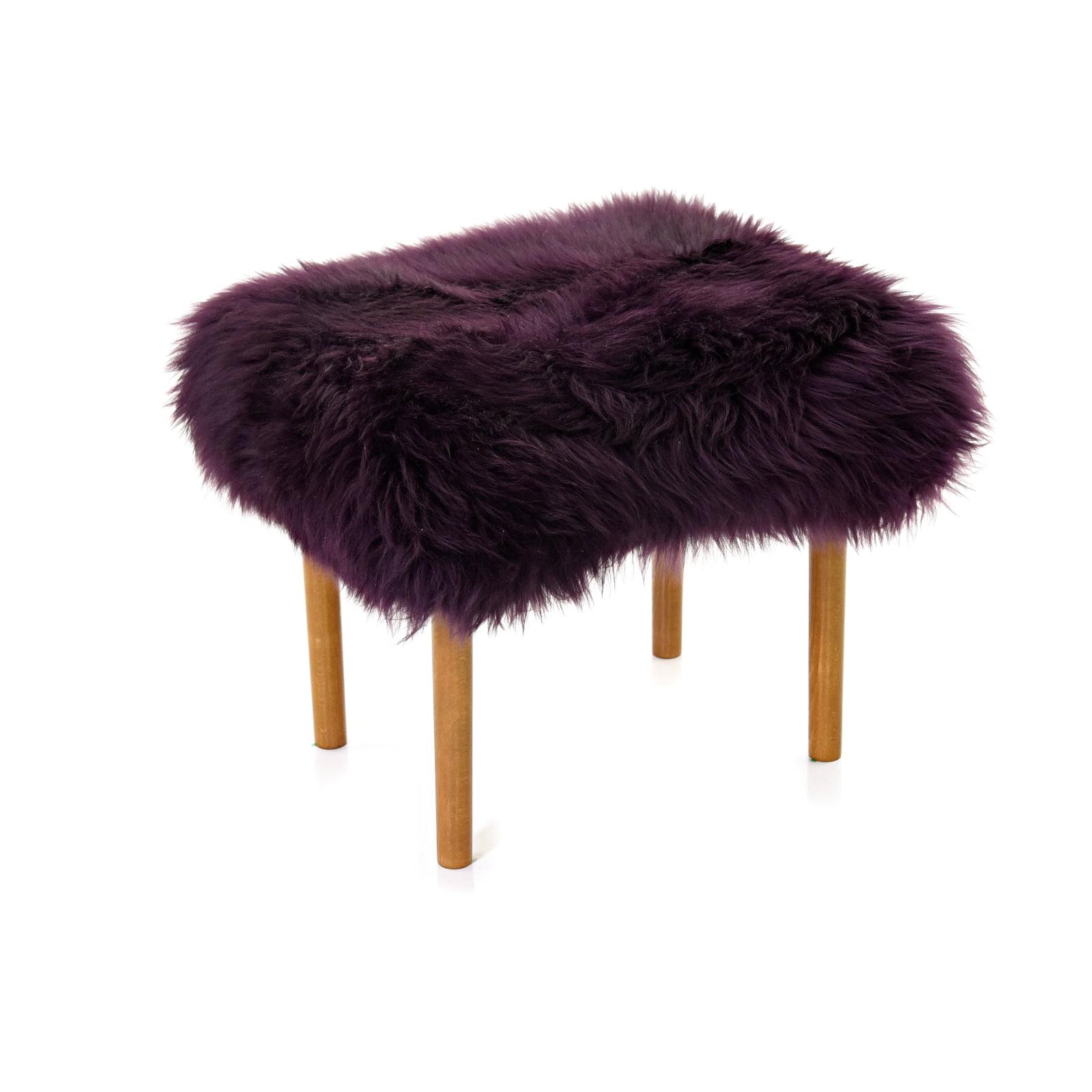 Ceri Sheepskin Footstool Aubergine