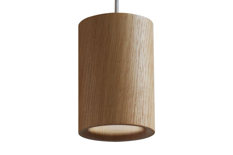 Solid Cylinder Pendant Light Natural Oak