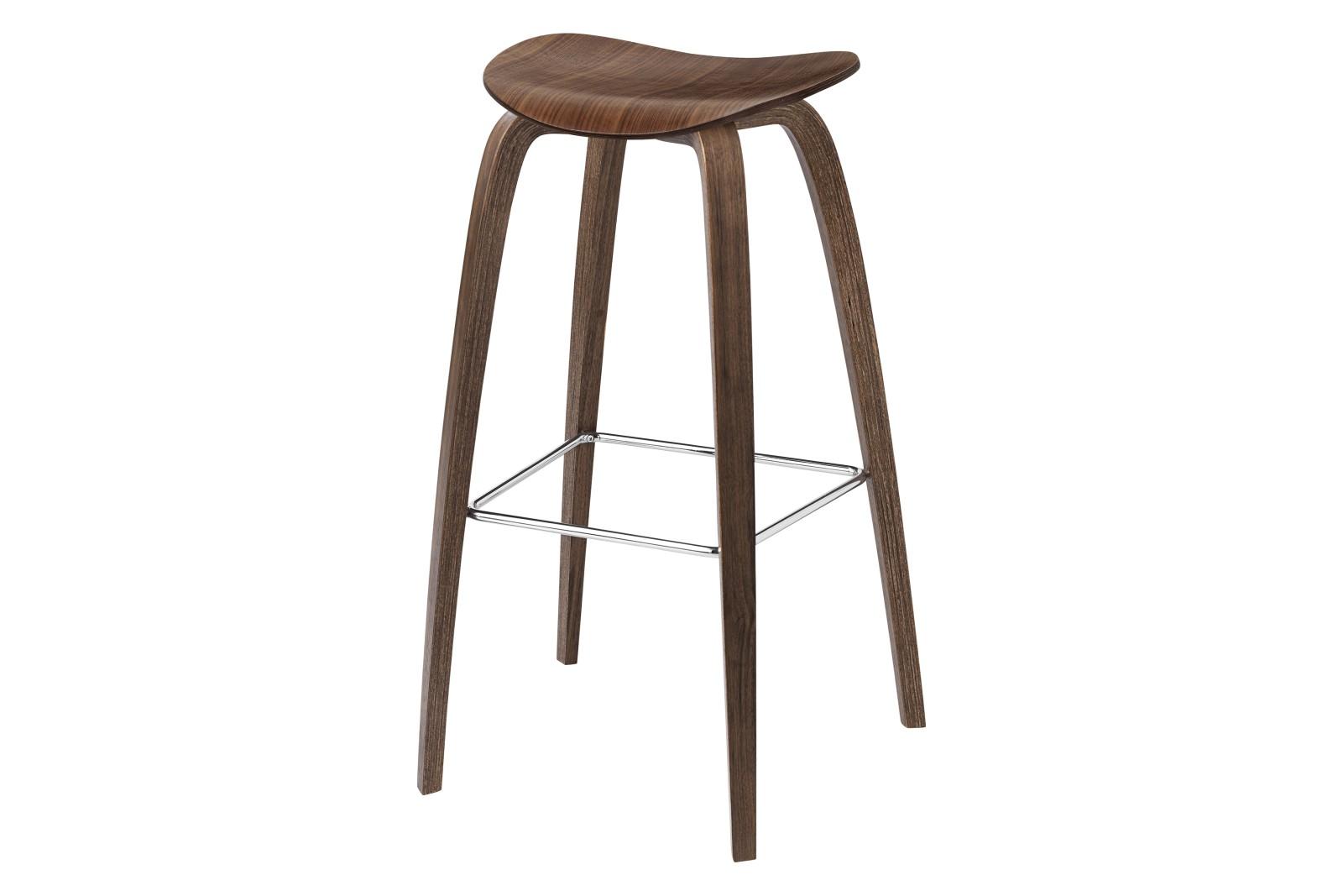 2D Bar Stool - Un-Upholstered, Wood Base Gubi Wood American Walnut, Gubi Metal Chrome, Felt Glides