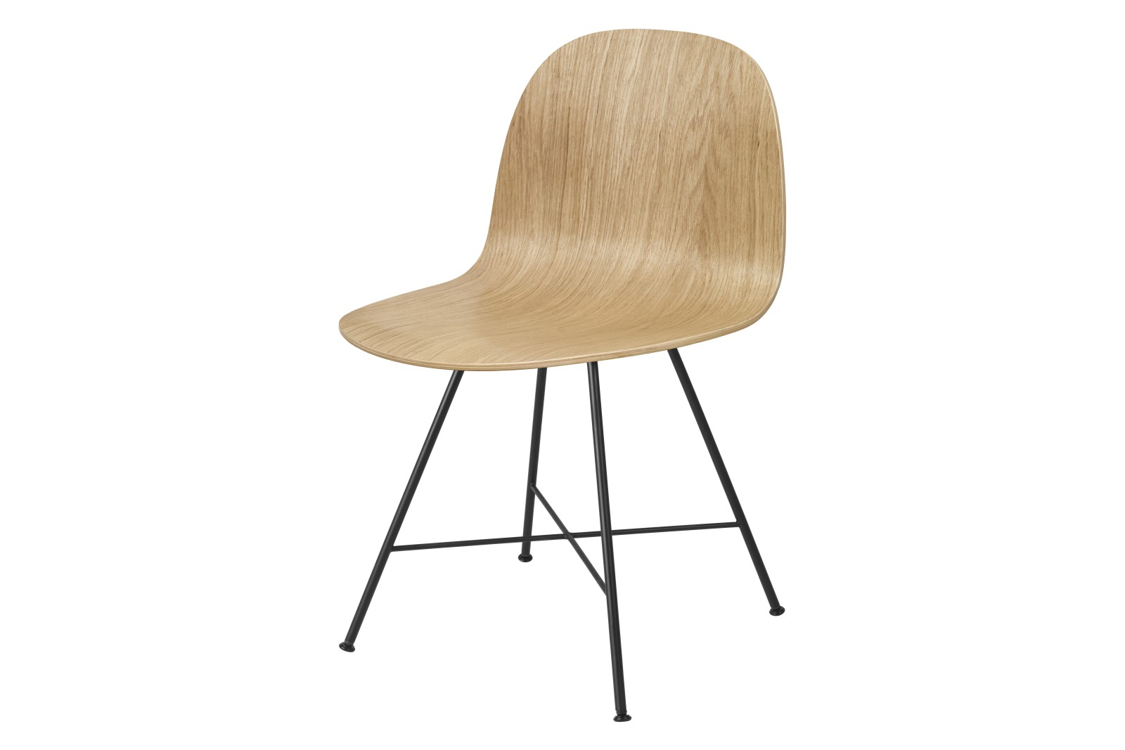 2D Dining Chair - Un-Upholstered, Center base Oak Semi Matt Lacquered, Felt Glides