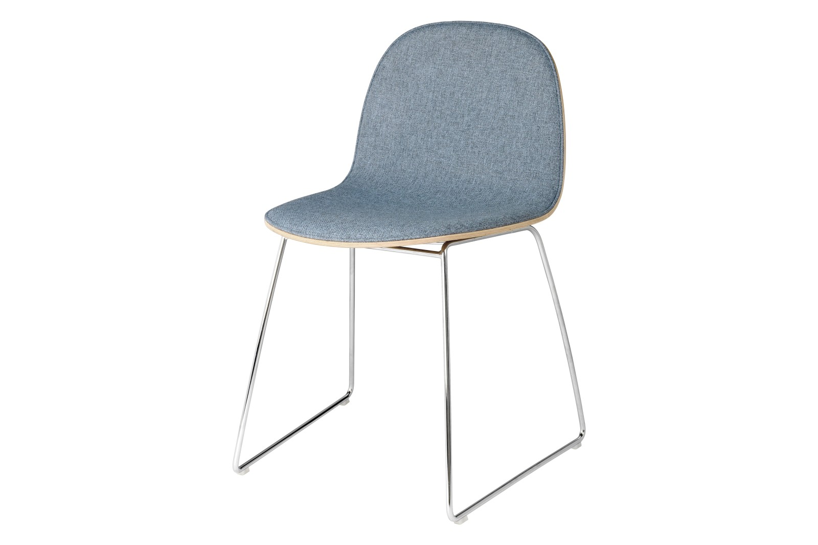 2D Dining Chair - Front Upholstered, Sledge base Gubi Metal Chrome, Gubi Wood Oak, Price Grp. 02