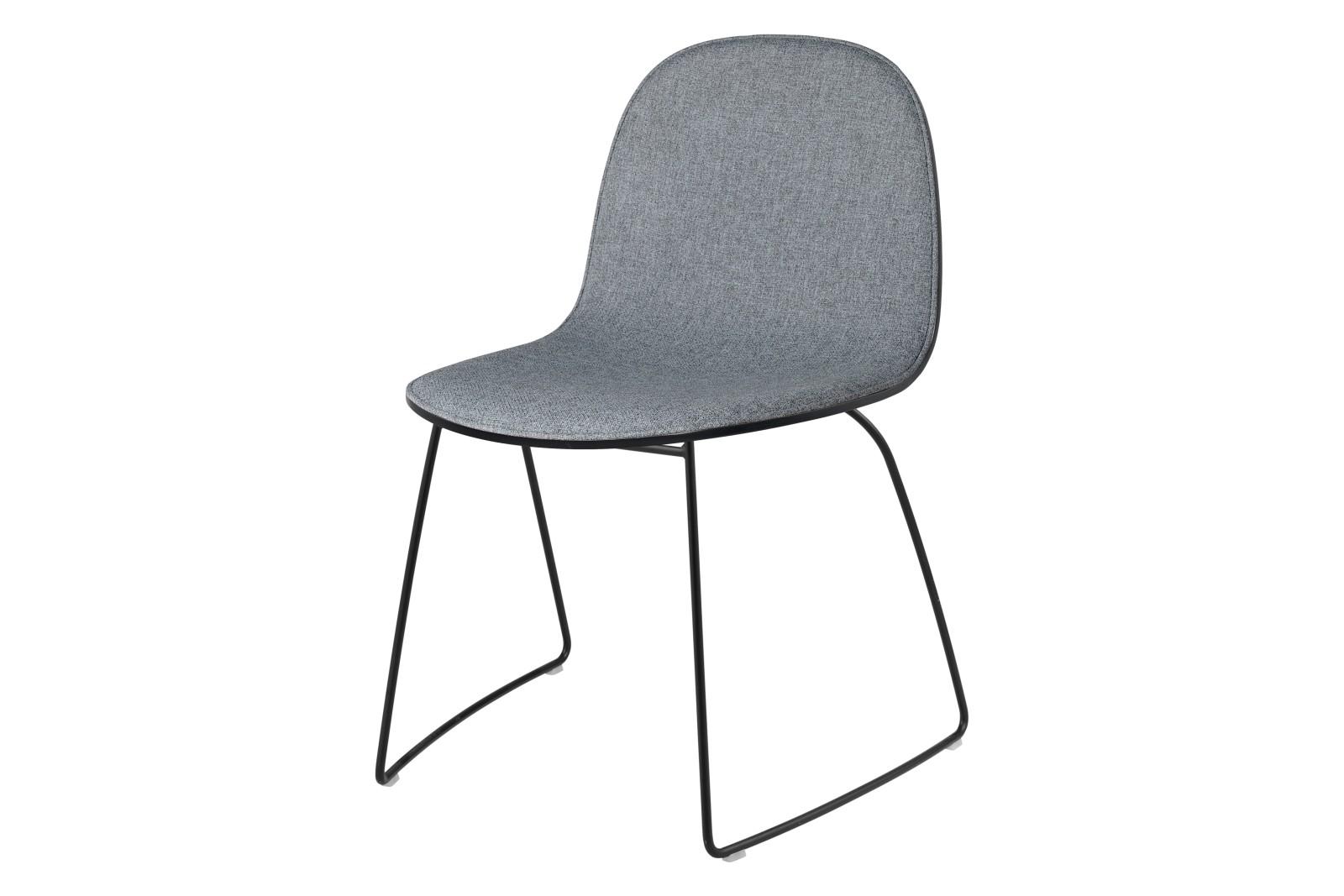 2D Dining Chair - Front Upholstered, Sledge base, Stackable Gubi Metal Black, Gubi Wood American Wal