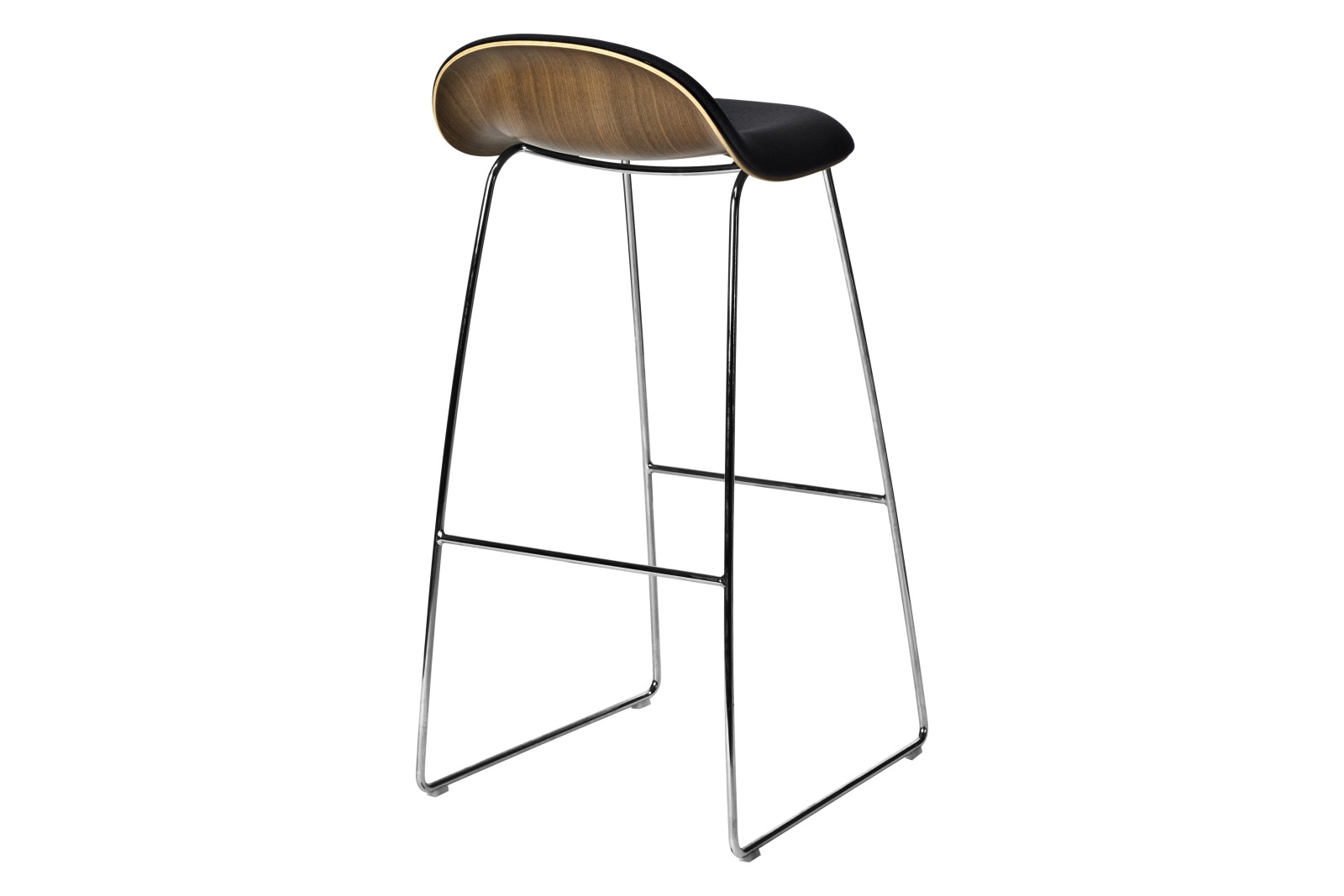 3D Bar Stool - Front Upholstered, Sledge base, Wood Shell Gubi Metal Chrome, Gubi Wood American Waln