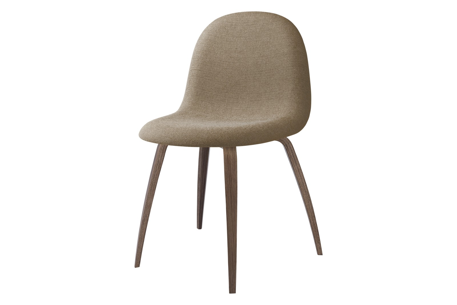 3D Dining Chair - Fully Upholstered, Wood Base Price Grp. 04, Gubi Wood American Walnut