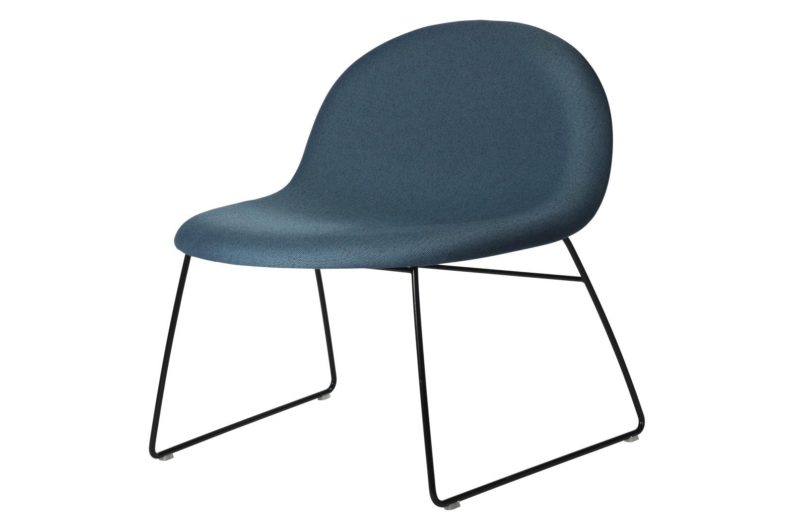 3D Lounge Chair - Fully Upholstered, Sledge Base Price Grp. 01, Gubi Metal Black Matt