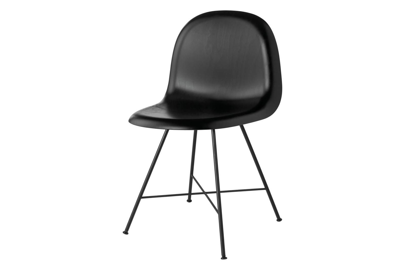 3D Dining Chair - Un-Upholstered, Center Base Gubi Wood Black Stained Beech, Felt Glides