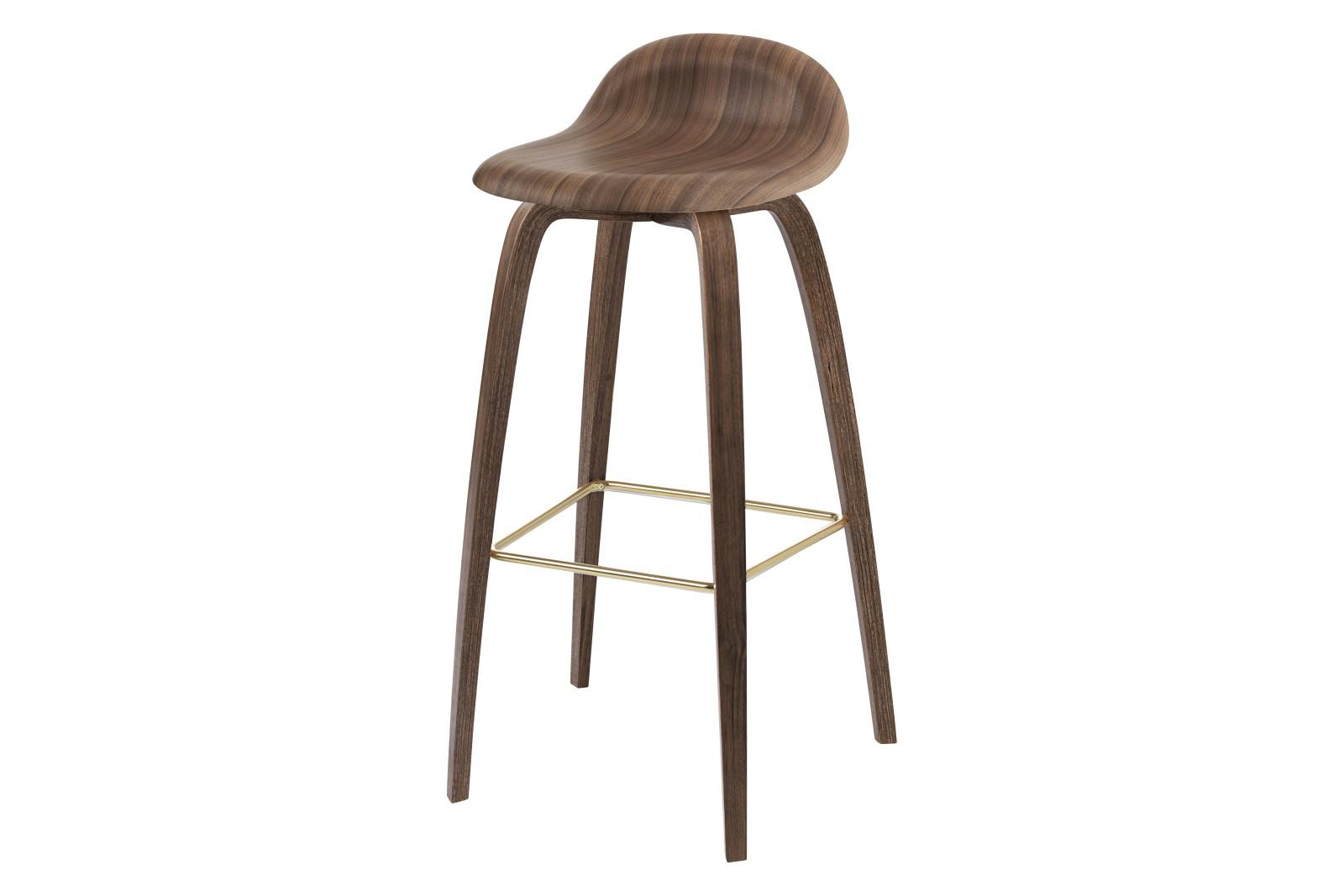 3D Bar Stool - Un-Upholstered, Wood Base Gubi Wood American Walnut, Gubi Wood American Walnut, Gubi