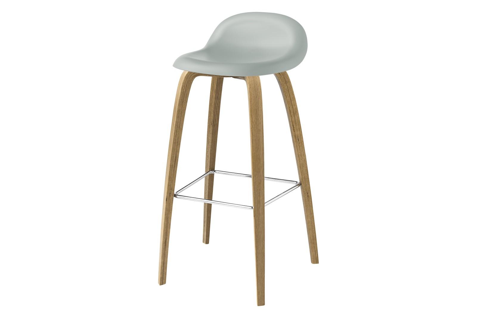 3D Bar Stool - Un-Upholstered, Wood Base Gubi HiRek Nightfall Blue, Gubi Wood Oak, Gubi Metal Chrome