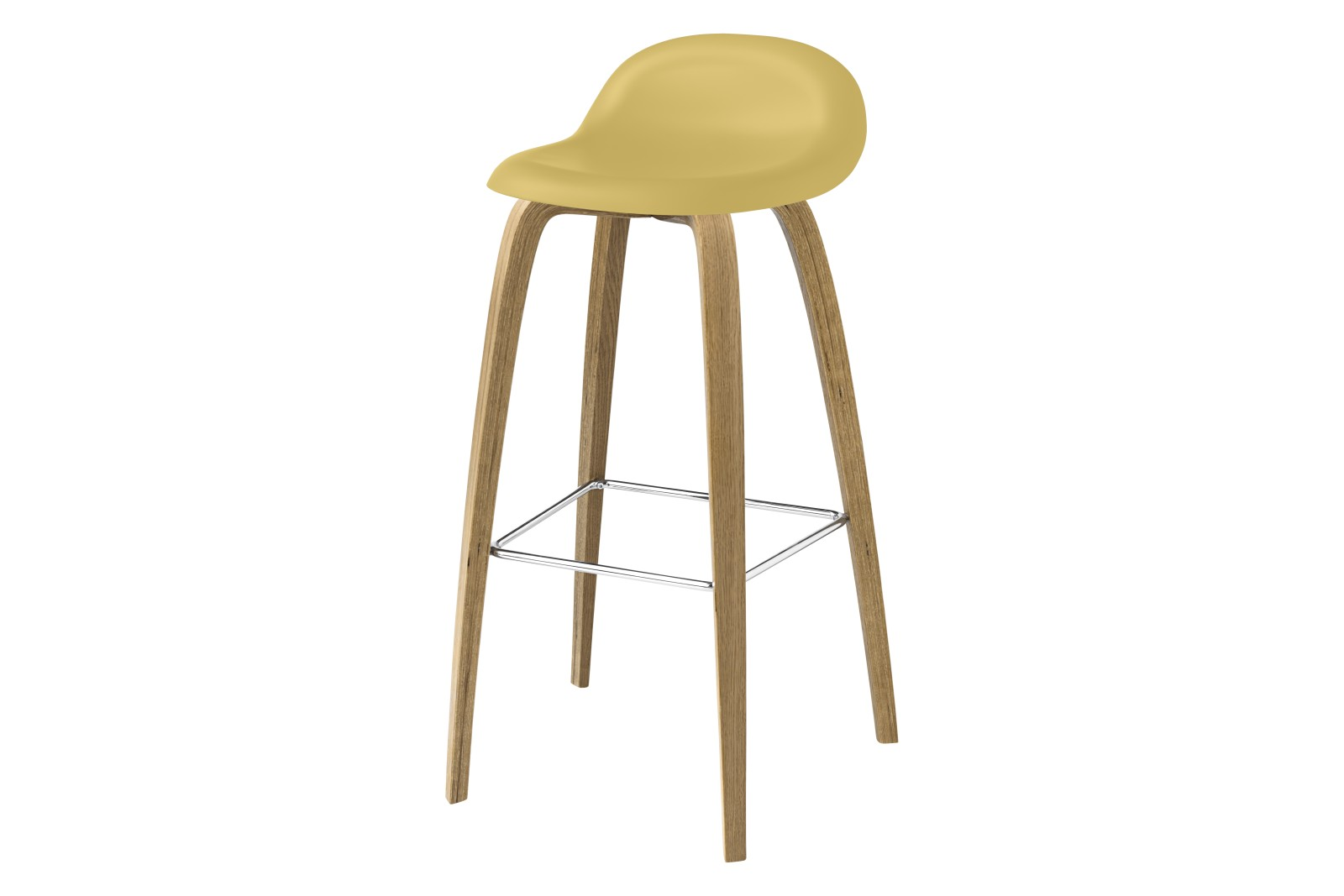 3D Bar Stool - Un-Upholstered, Wood Base Gubi HiRek Venetian Gold, Gubi Wood Oak, Gubi Metal Chrome,